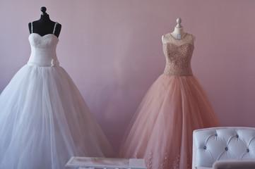 wedding dress in a showcase
