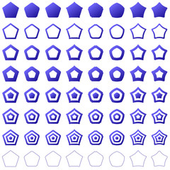 Blue pentagon set