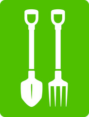 shovel and pitchfork icon - tools for garden