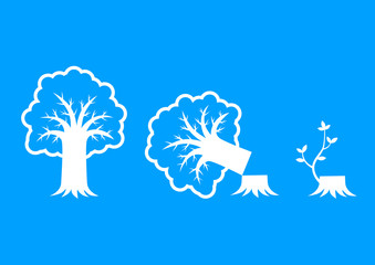 White tree icons on blue background