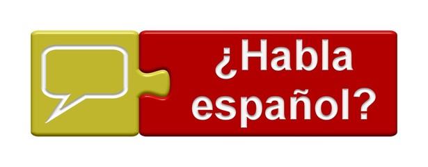 Puzzle-Button gelb rot: ¿Habla español?