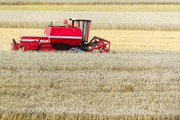 Mähdrescher in einem Weizenfeld