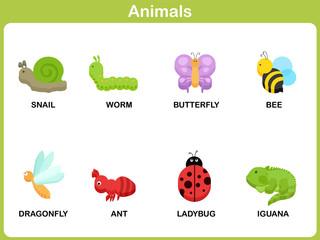 Cute vector Set of Animal for kids : Flat design