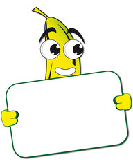 Funny banana with poster