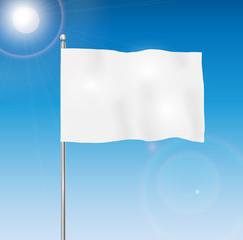Blank white flag on blue sky background, vector illustration