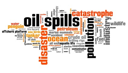 Oil spills - word cloud concept