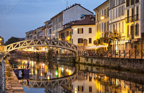 canvas print picture Bridge across the Naviglio Grande canal