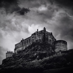 Edinburgh castle black and white
