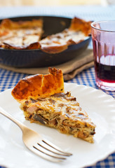 Mushrooms and turkey quiche.