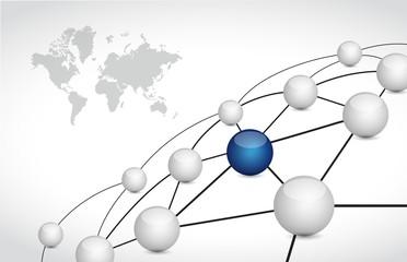 sphere map link network illustration design