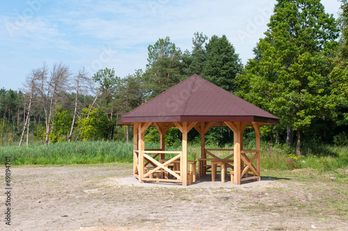 Wooden gazebo - 69894701