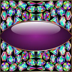 background round frame made of precious stones