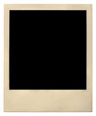old instant photo frame isolated on white with clipping path inc