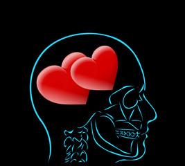 myśl i dwa czerwone serca