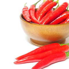 Red chili pepper spicy isolated on white background