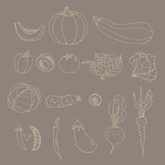 Set of line art vegetables.