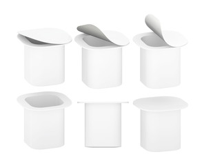 White blank plastic  yogurt cup with clipping path