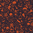 Seamless Pattern With Halloween Pumpkins And Monsters