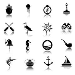 Nautical icons set black