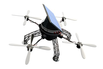 Vliegende drone op duurzame energie