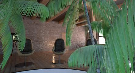Interno con piante tropicali, serra