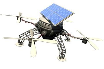 Vliegende drone met pv panelen