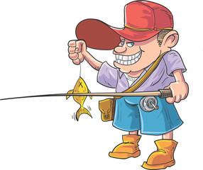 Cartoon fisherman caught a fish