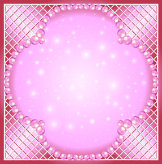 of a pink background with pearls and netting