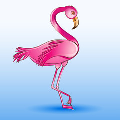 of a pink flamingo standing on a blue background