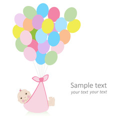 Baby greeting card with ballons and newborn baby vector