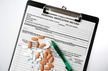 Medical chart and pills