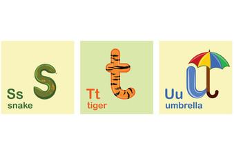 Children Alphabet, Letters, Vector Illustration, s, t, u