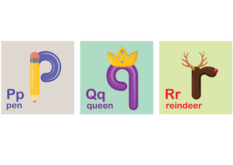Children Alphabet, Kids Letters, Vector Illustration, p, q, r