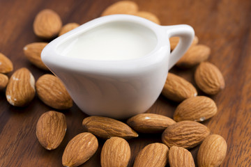 Almond milk with almonds