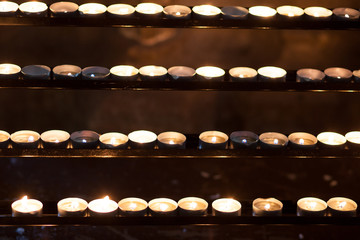 rows of candles
