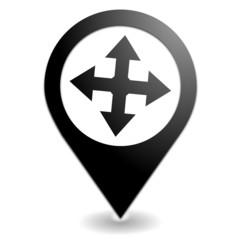 directions sur symbole localisation noir
