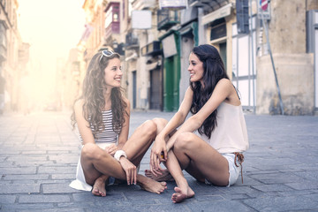 chatting with a friend