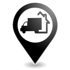 livraison à domicile sur symbole localisation noir