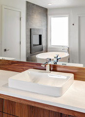 Bathroom Detail: Sink with reflection of bathtub and fireplace