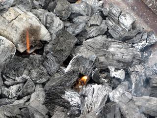 Smoking burning charcoal