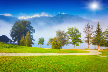 Foggy summer morning on the Bohinj lake in Triglav national park
