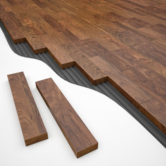 Brown wood parquete construction