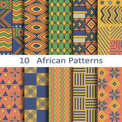 set of ten african patterns