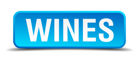 Wines blue 3d realistic square isolated button