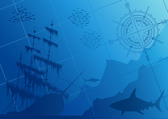 Underwater world with old ship and sharks