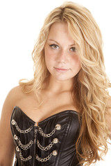 woman corset blond woman