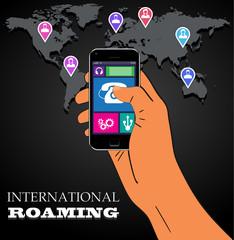 Mobile phone international roaming. Vector