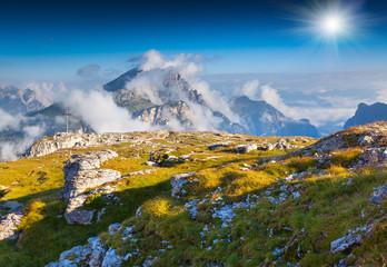 Birkenkofel mountain range at sunny summer day. Dolomites mounta