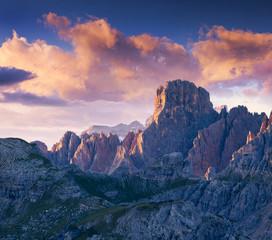 Colorful summer sunrise in Italy Alps, Tre Cime Di Lavaredo, Dol
