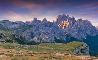 Colorful summer sunrise in Italy Alps, Tre Cime Di Lavaredo, Dol